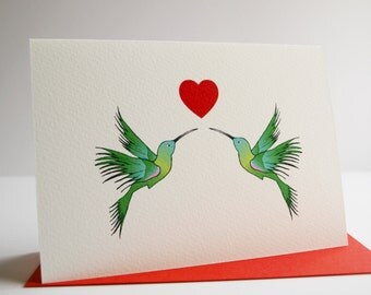 Humming birds in love card