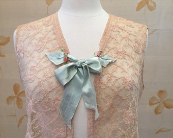 Pretty gatsby lace vest with silk ribbon and embroidery