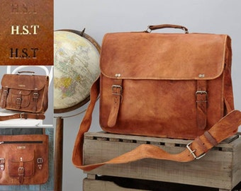 "Personalised Leather Laptop Bag with Handle - Size: 16""x12"" By Vida Vida"