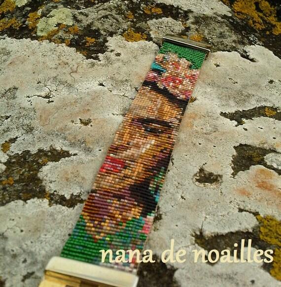 Bracelet Manchette  Perles de rocailles Miyuki Tissées / Half portait/ Frida