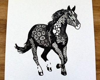 Zen Horse Letterpress Print