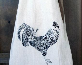 Zen Rooster Tea Towel - Flour Sack Towel