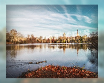 Golden Dome and Basilica Across Saint Mary's Lake      - Shot in Notre Dame, IN during Fall 2014