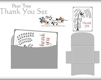Pear Tree Thank You Card and Envelope