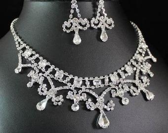 Austrian Rhinestone Crystal necklace earring set