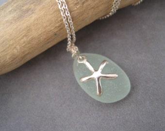Sea Glass Pendant - Seafoam Green - Beach Glass - Starfish Charm - Sea Star - Beach Charm - Silver Starfish -Charm Jewelry