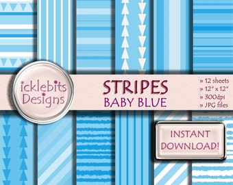 "Blue Stripes Digital Paper Pack, ""BABY BLUE"" For Scrapbooking, high resolution, striped, triangles, baby boy, Design #28"