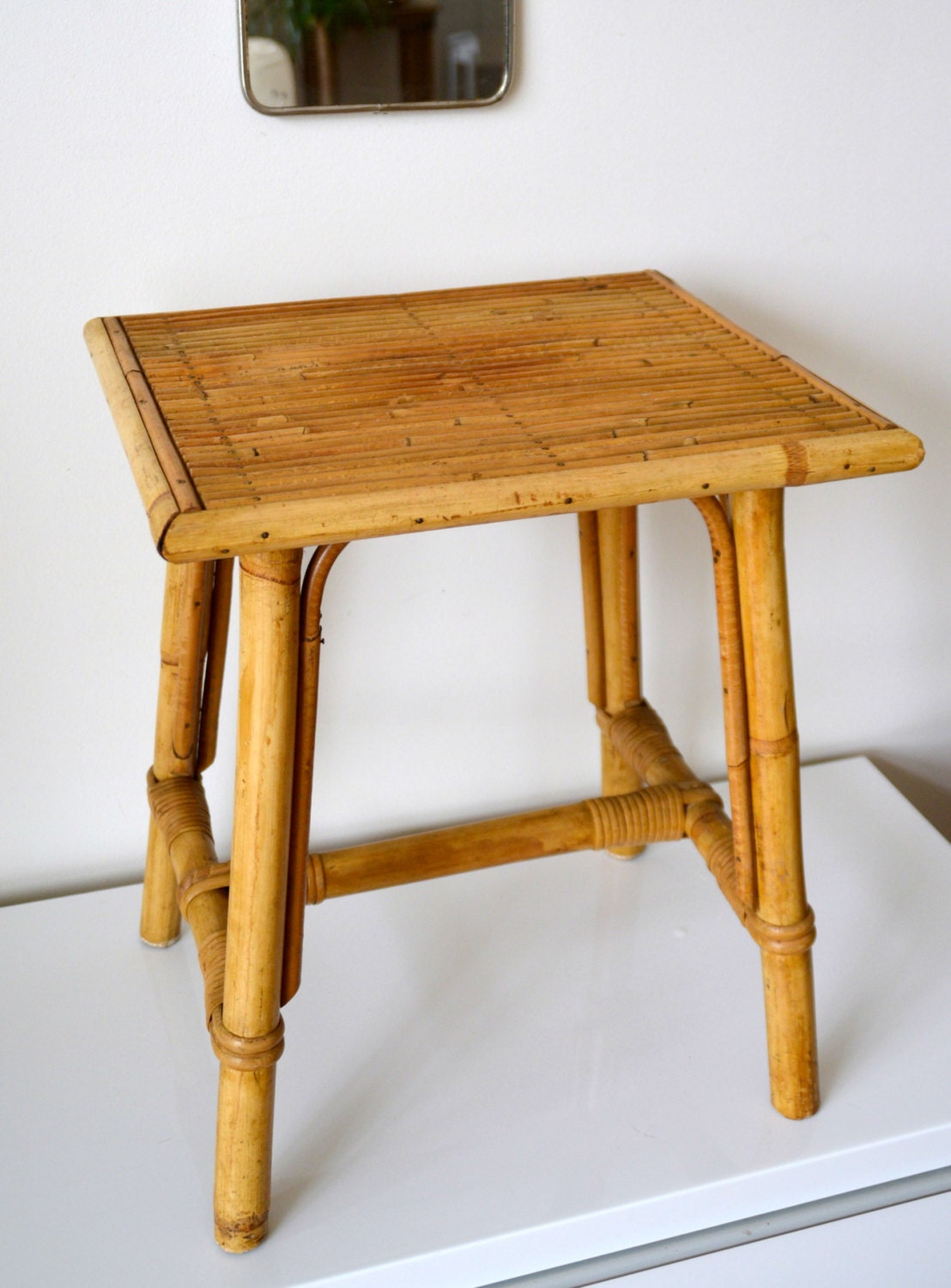 small side table desk vintage rattan