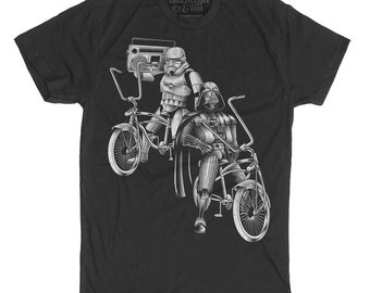 Darth Vader Bike Shirt. Darth Vader Storm Trooper on Bikes Men's T-shirt in Sizes Small-XXXLarge