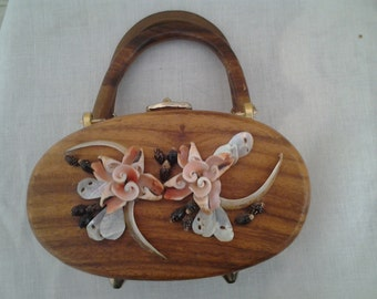 Wooden Box Purse with Sea Shells Vintage Estate