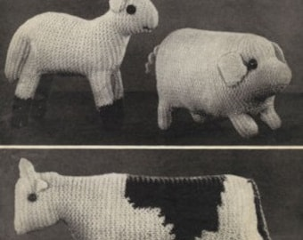 PDF Bestway Leaflet 931 Knitting Pattern – Farm Animals, Cow, Pig, Lamb, 1940s, retro - PDF instant download