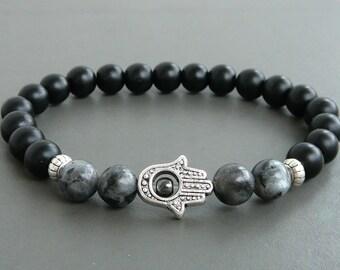 Hamsa Bracelet Black Lava Buddha Bracelet men Black Onyx bracelet Yoga Meditation bracelet Energy Bracelet for men gift, Hamsa Bracelet Mala