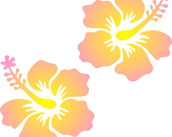 2 Yellow/Pink Hibiscus Flower Removable Wall Art or Permanent Window Decals
