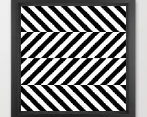 Abstract geometric print, optical illusion print, black and white print, chevron print, chevron wall decor, op art print, 12x12 print
