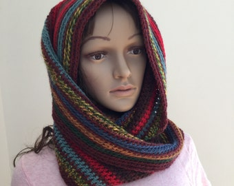 Infinity scarf in rainbow colors, one of a kind