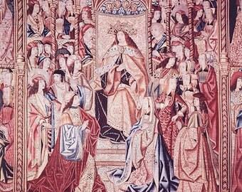 Repro of Ancient Tapestry David and Bathsheba High Resolution Digital Download Printable Art