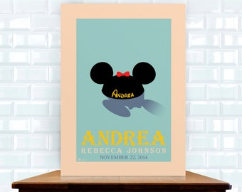 """Custom Disney Minnie Mouse Ears Fine Art Personalized Print // Baby Nursery // Wall Artwork // Home Decor // Mouseketeer // """"My Other Ears"""""""