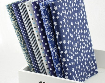 Fat Quarter Bundle - thin - DARK BLUE collection - 7 fat quarters
