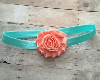 Baby Girl Headband, Aqua Headband, Peach Headband, Baby Headband, Toddler Headband, Flower Headband, Photo Prop, Newborn Headband