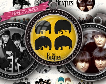 "The Beatles, Music - digital collage sheet - td102 - 1.5"", 1.25"", 30mm, 1 inch - Printable Download - Instant Download for glass pendants"