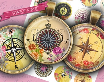 """Compass Circle roses- digital collage sheet - td163 - 1.5"""", 1.25"""", 30mm, 1 inch - Circle Bottle cap images, Printable Images - Download"""