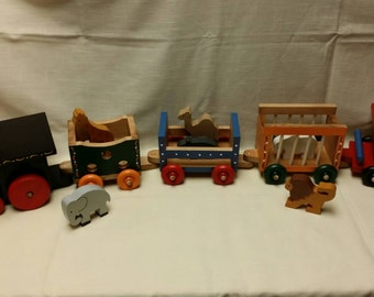 Wooden Circus Train with Animals