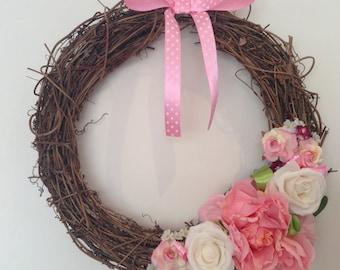 Wicker summer flower wreath