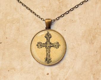 Gothic necklace Cross pendant Vintage jewelry