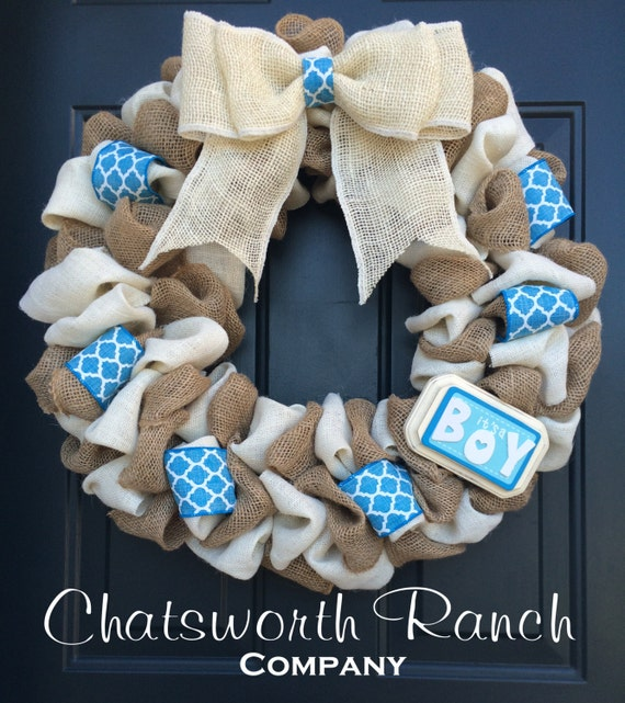 burlap blue ivory welcome door wreath baby shower boy mommy to be