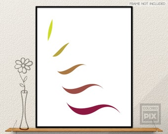 Colorful Wall Art, Colorful Abstract Print, Minimalist Wall Art, Multicolor Leafs Print, Colorful Geormetric Wall Print, Printable Poster