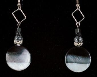 Handmade Black and White Beaded Dangle Earrings