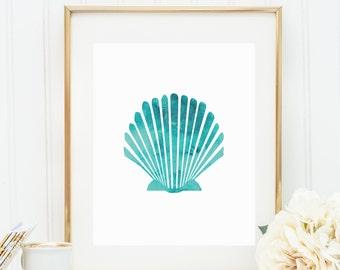 Aqua Shell Print, Digital Print, Watercolor Sea Shell Print, Beach Decor, Instant Download, Scallop Art, Ocean Print, Printable Wall Art
