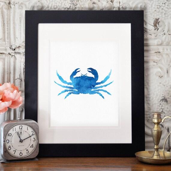 Nautical kitchen wall decor : Blue crab print nautical wall art by