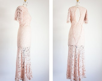 1930s Pale Pink Lace with Ruffle Sleeves / Size XXS XS/ Gorgeous