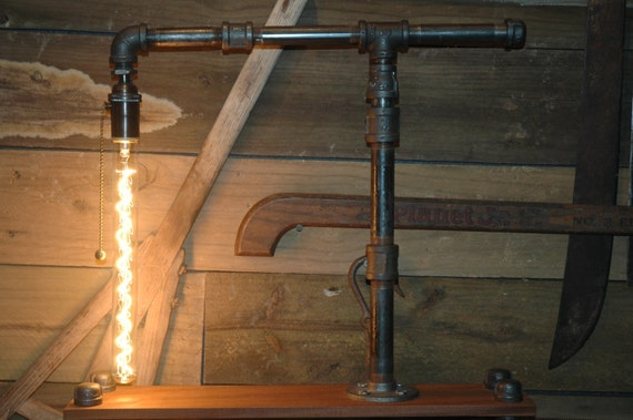 On sale metal gas pipe table lamp with oil by for Gas pipe lamp