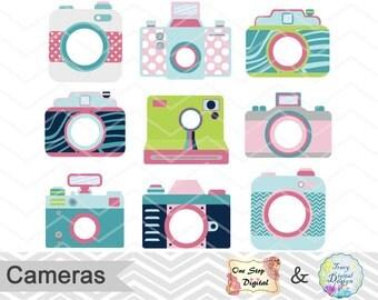 Digital Cute Camera Clip Art, Camera Clipart, Photography ClipArt, Shabby Chic Camera Clipart, Pink Camera Blue Camera Green Camera 0153