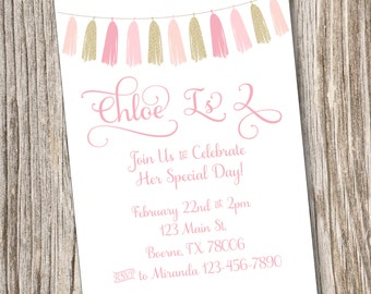 Tassels, Pink, Gold, Birthday, Baby Shower, Printable, Digital, Princess, Invitation