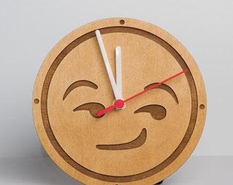 Smirking emoji clock