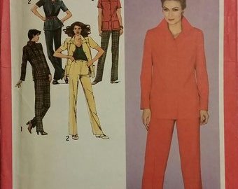 Jacket and Pants Pattern - Size 14 1/2 - Simplicity #9479 - Vintage 1980