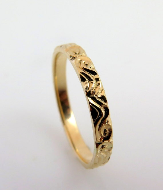 Engraved ring gold Pattern ring 14K Rose Gold ring Engraved