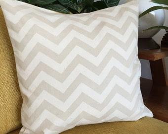 Canvas Zig Zag Stripe 18X18 Decorative Pillow