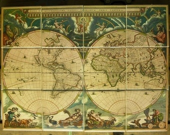 Antique World Map Mural ca. 1660