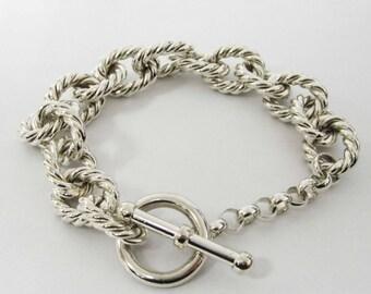 STERLING silver loop chain bracelet