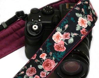 Roses Camera Strap. Purple Camera Strap DSLR Camera Strap. Canon Camera Strap. Women Accessories