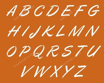 italic calligraphy letter stencils a z alphabet set choose uppercase lowercase or both 12 to 6 inch sizes available item codeet46