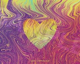"Psychedelic Tie-Dye Liquid Heart Print 15.5"" x 9.57"" (Phi Ratio Dimensions)"