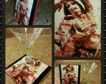 Bloody red goth girl on white ceramic wall art handmade