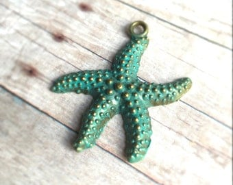 1pc Hand-painted Starfish charm pendant, Verdigris, 40x37mm