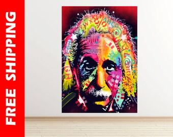 Albert Einstein portrait wall decal vinyl, famous scientist and researcher wall sticker pop art modern art poster photo by dean russo dr114