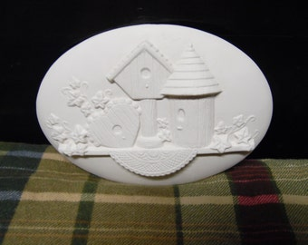 Ceramic bisque ready to paint Birdhouse insert